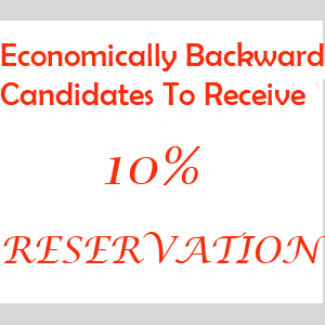 Quota For General Students with a Reservation of 10 percent Seats In Government Institutions